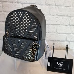 Victoria's Secret Black + Gold Mini Backpack Bag